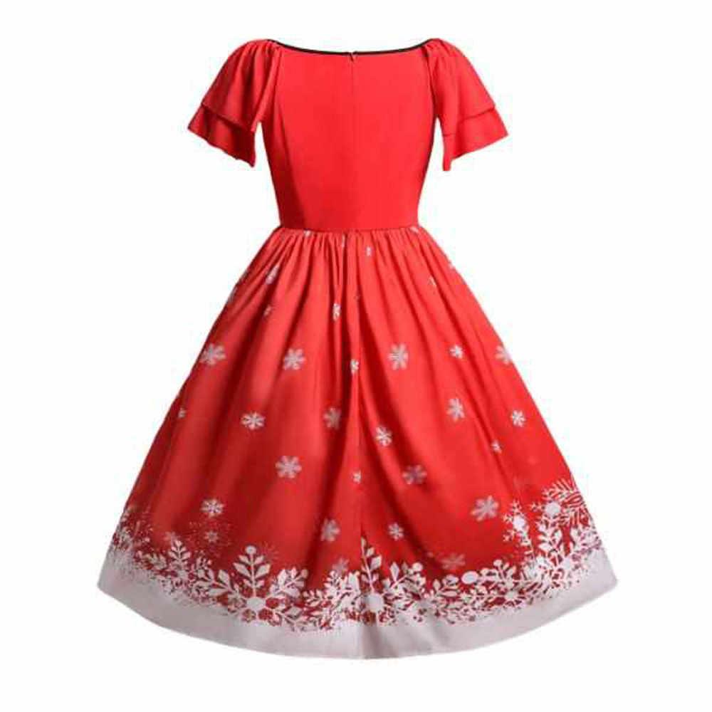 ... Women Christmas Plus Size Bow Santa Claus Print Vintage Dress christmas  dress women women dress long c172810abd9f