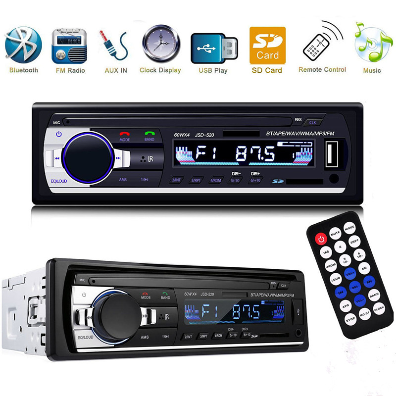 Stereo Subwoofer coche Bluetooth Radio 1.din HD coche Mp3 jugador 60wx4 Radio Usb SD Bluetooth sintonizador de FM Digital Auto Radio pionero