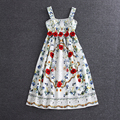 2017 mulheres runway dress europeia passarelas high-end de seda bordado floral dress summer long dress mangas imprimir tanque dress