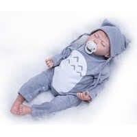 Nicery 20 zoll 50 cm Bebe Puppe Reborn Weichen Silikon Junge Mädchen Spielzeug Reborn Baby Puppe Geschenk für Kinder Grau kleidung Grau Hut