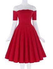 New Women Dress Robe Vintage Short Sleeve Off Shoulder Red Color Dress Jurken 1950s 60s Retro Rockbilly Swing Party Dresses