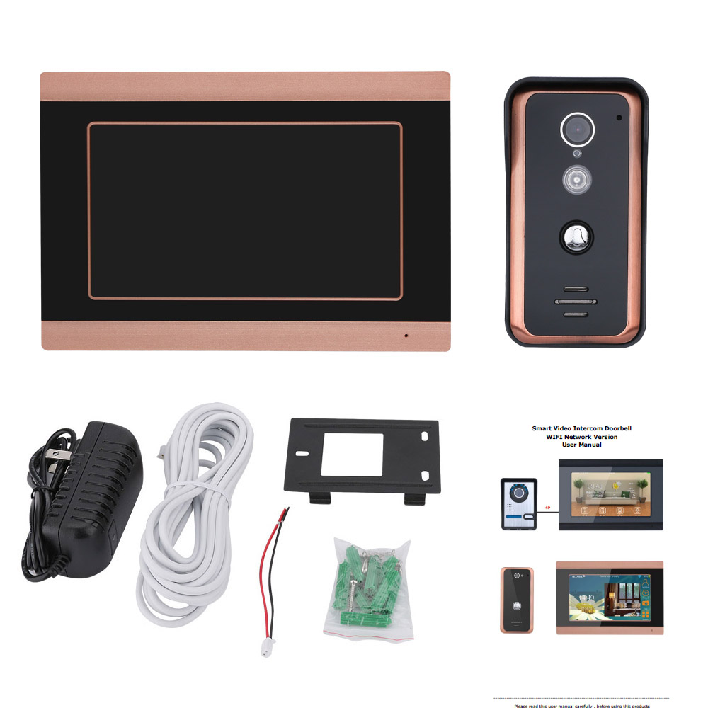 MAOTEWANG 7 inch Wifi Draadloze Video Deurbel Intercom met HD 1000TVL Bedrade Camera foto records - 2
