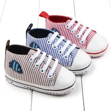 Осень Новорожденного Ребенка Мальчики Девочки Полосатый Мягкой Подошвой Обувь Зашнуровать Casual Первый Ходьбы Обувь 0-12 M Ребенка обувь