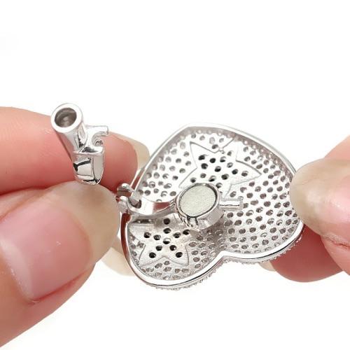 Fermoir de bijoux fins multifonctions en argent Sterling Zircon en forme d'étoile en forme de coeur pour Bracelet de collier de perles faisant la SC-CZ063 - 3