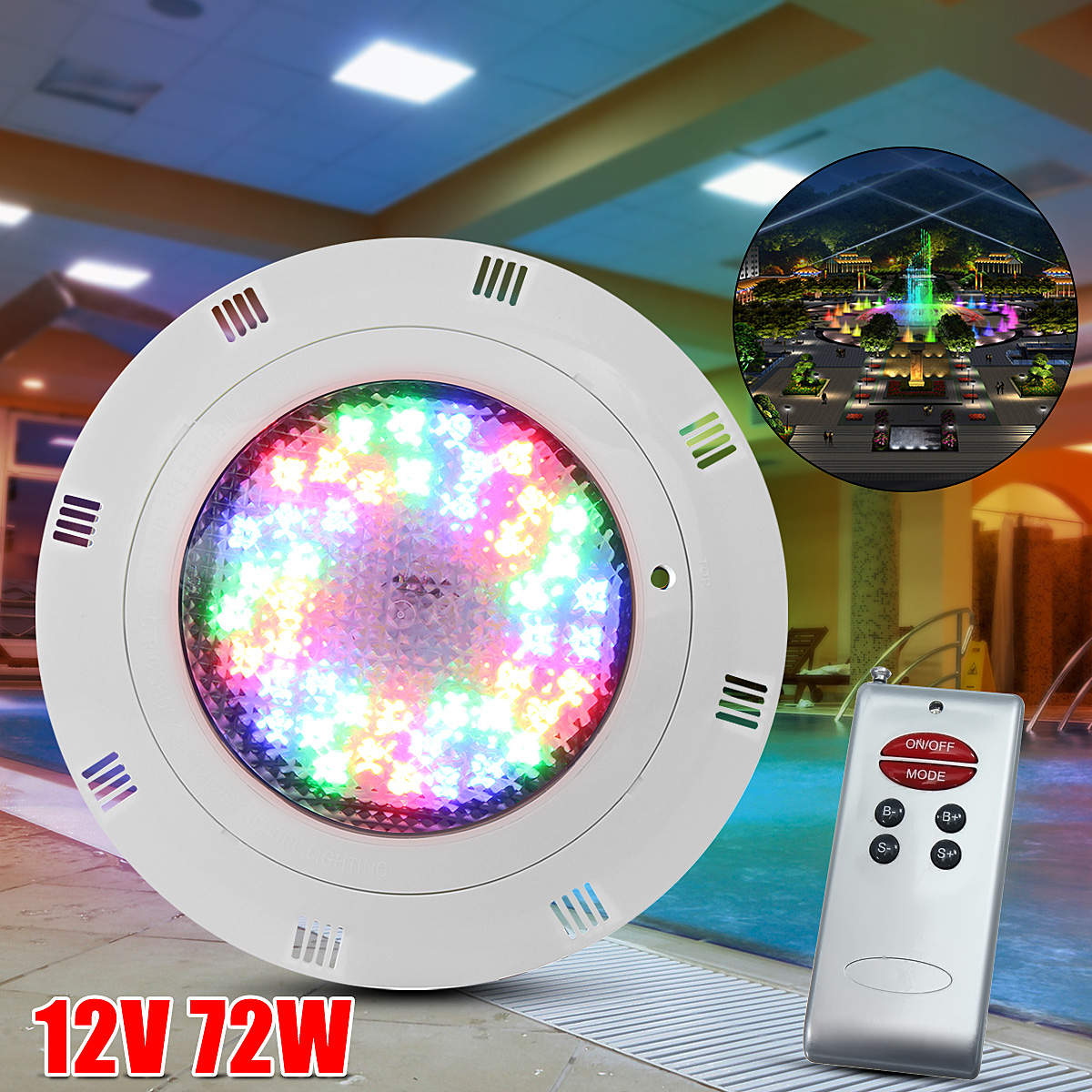New 12V 72W RGB 7 Color LED Swimming Pool IP68 Underwater Light Bright Wall Mounted Pond Lighting + Remote Control