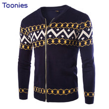 Men's Sweater 2017 Fashion Cardigans Warm Thick Knitwear Sweater Long Sleeve Casual Sweater Jacket Printing Male Christmas Coat