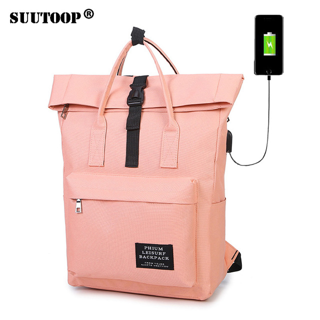 Fashion Women Girls Backpack USB Charging Nylon Travel Backpacks Pink  School Bags For Teenagers Girl mochila feminina Satchel 5f25a9eb3f258