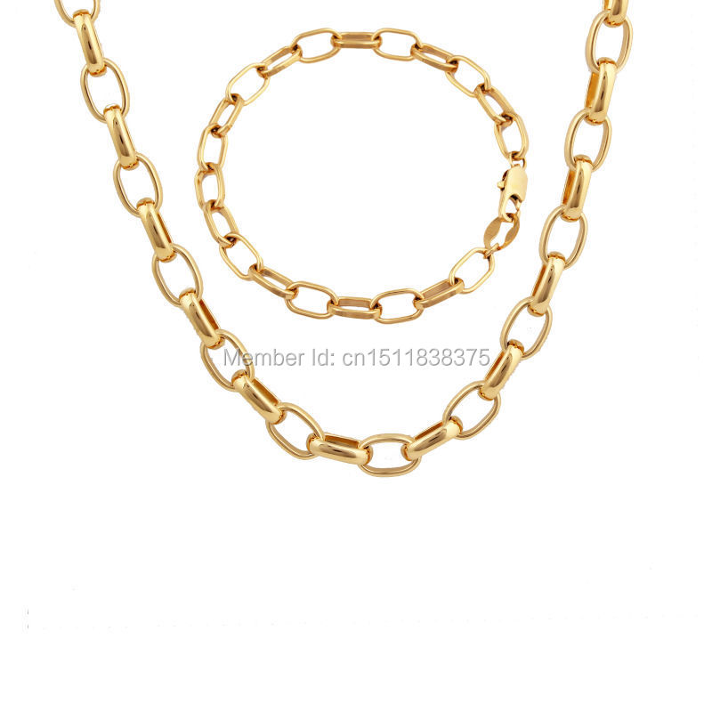 . Gold Color Necklace and Barcelets Men & Women jewelry sets Unique Round 21 cm Chain & 55cm link chain free shipping
