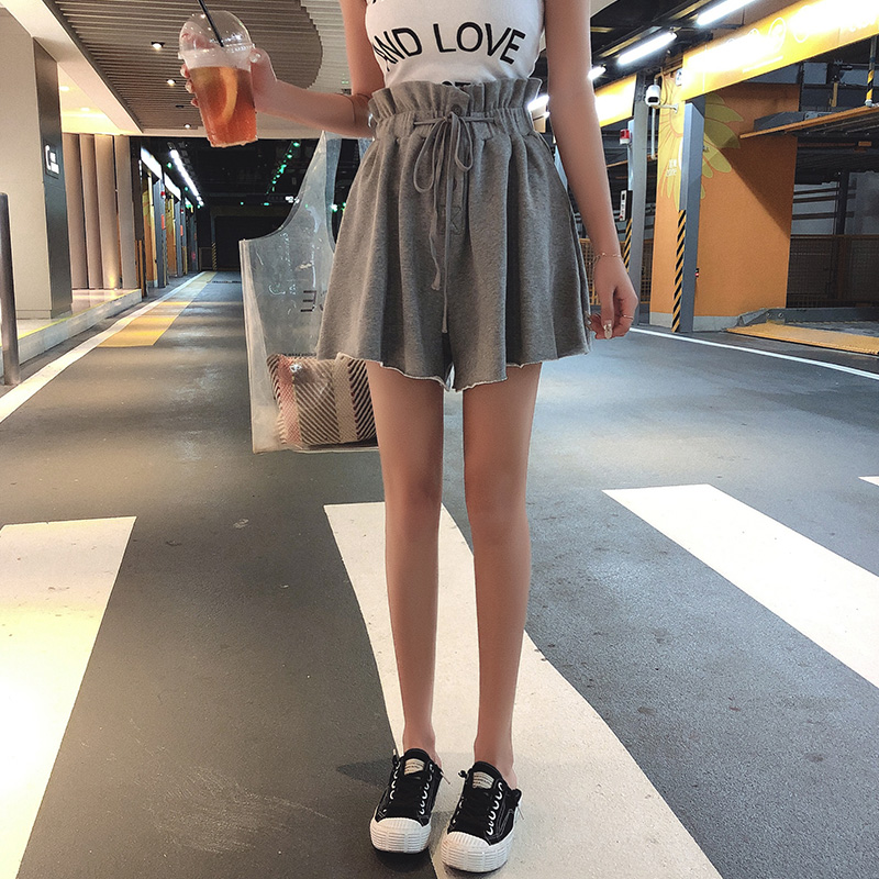 High Waisted Casual Shorts Women Summer Fashion Streetwear Ruffle Frilly Drawstring Waist Wide Leg Loose Shorts Ladies Culottes
