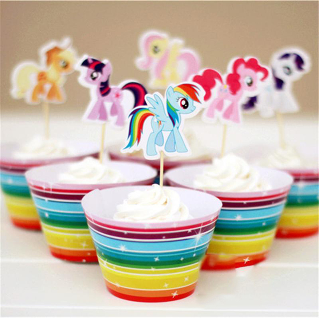 24 Pcs Cupcake Wrappers Toppers My Little Pony Cupcake Cake