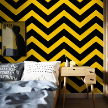 Nordic Geometric Curve Wave Black and White Striped Wallpaper Bedroom Living Room Bar Clothing Shop Industrial Wind Wallpaper wave shop ru