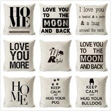 Letter Cushion Cover Cotton Linen Black White Love Home Pillow Case Sofa Bedroom Car Nordic Decora Pillowcase 45x45cm almofadas недорого