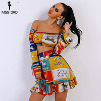 Missord 2018 Sexy Spring And Summer Slash Neck Off Shoulder Woman Two Pcs Set Cartoon Pattern