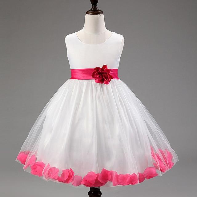 49bb14915e7 European and American Princess petals wedding flower girl dress girls prom  dresses pink princess dress