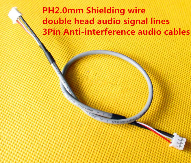 Fast Free Ship 20PCS PH2.0mm Shielding Wire Double Head Audio Signal Lines For Amplifier 3Pin 30CM Anti-interference Audio Cable