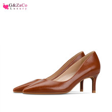 G&Zaco New Brown Matte Low Heels Shoes Women Shallow Pumps High Heel 6cm Pointed Stiletto Leather Single Ladies size 33 42