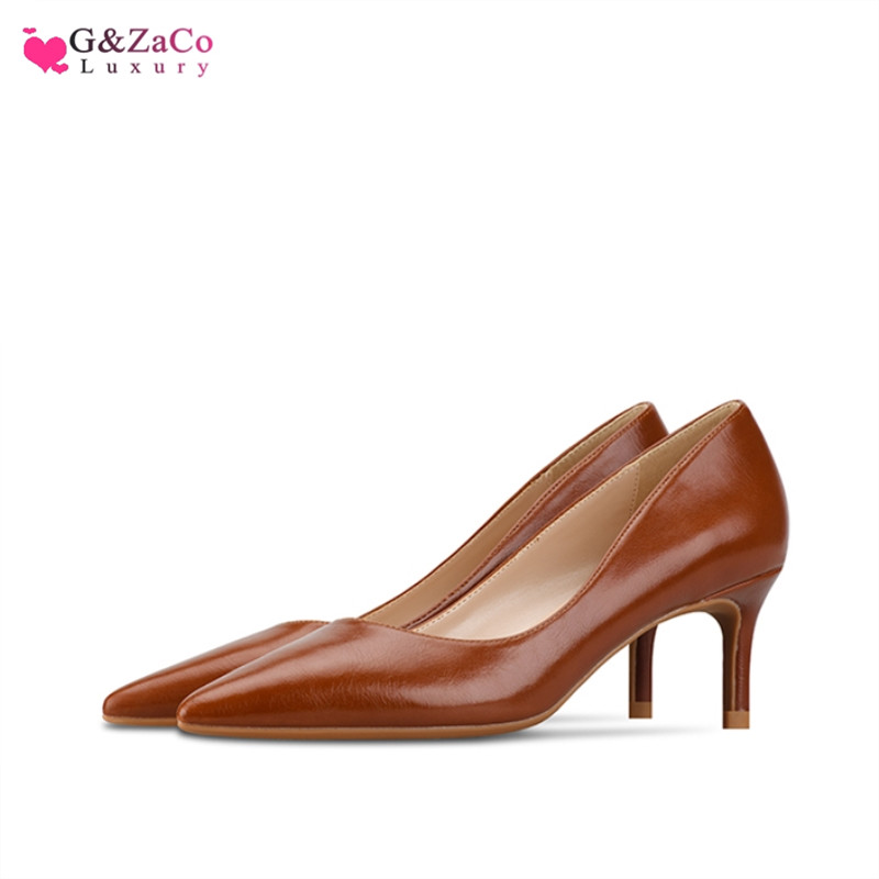 G&Zaco New Brown Matte Low Heels Shoes Women Shallow Pumps High Heel 6cm Pointed Stiletto Leather Single Ladies Shoes size 33 42
