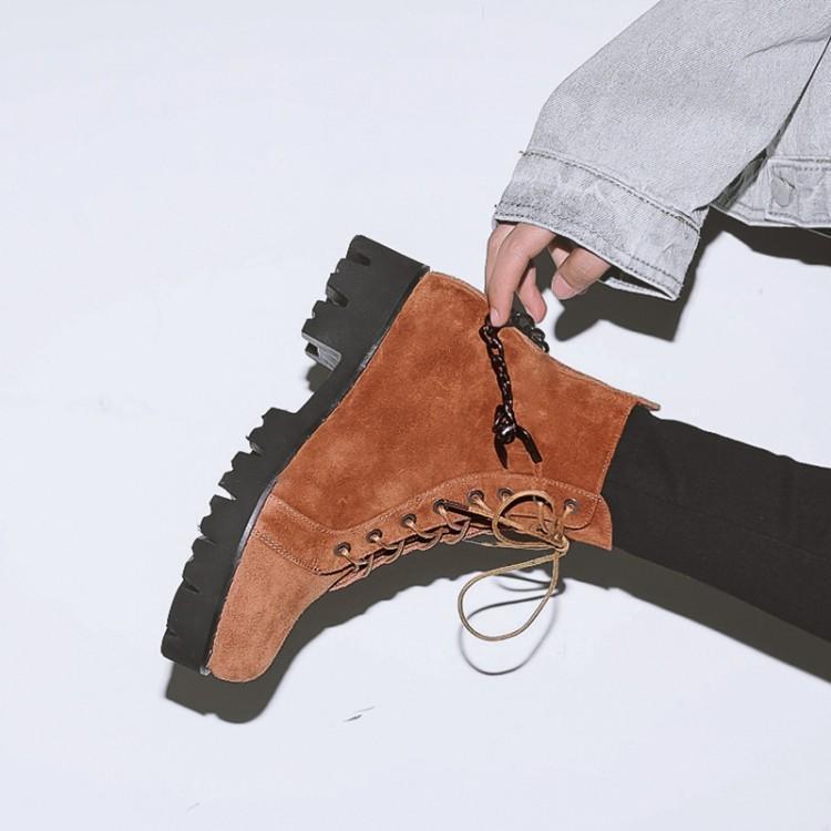 Bout Dame Croix Bottes Marton Black En Brown Chunky Rond Femmes Suede New Métal Retour Avec Botas Chaîne Moyen Noir Liée Hiver Chaussures orange Talon xHPY7wwSIq