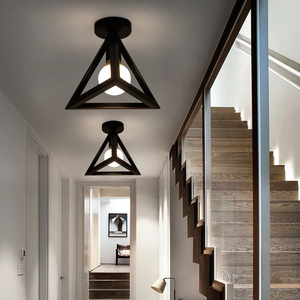 Image 4 - Vintage E27 Plafond Lichten Ijzer Zwart Plafondlamp Retro Kooi Licht Keuken Armaturen Luminaria Lamparas De Techo Home Verlichting