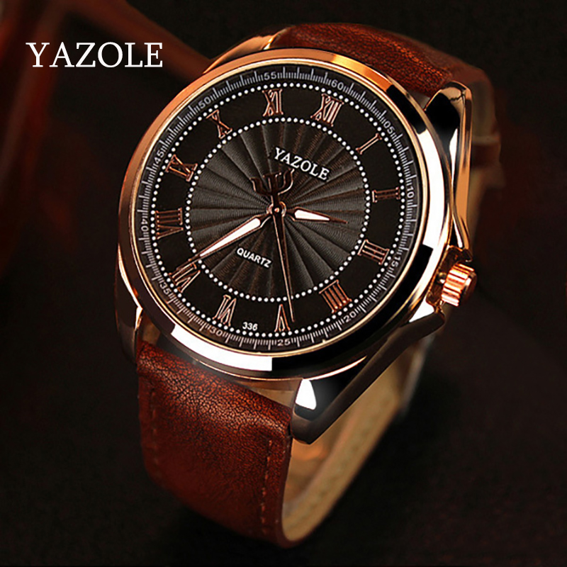 YAZOLE 2016 Mens watches Top Brand Luxury Mens Business Clock Male Quartz Wrist watch Quartz-watch relogio masculino Gold Black xinge top brand luxury leather strap military watches male sport clock business 2017 quartz men fashion wrist watches xg1080