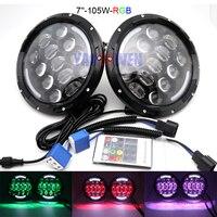 pair 7 LED Lamp H4 Headlamp Light RGB High/Low Beam for Jeep Wrangler 4x4 Lada 7 Inch white Angel Eye.