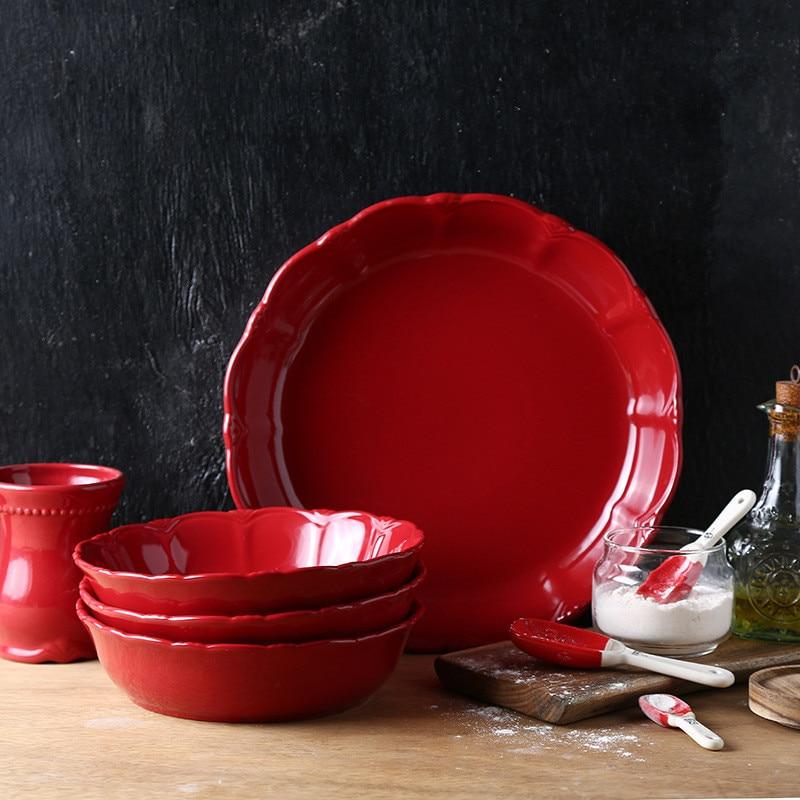 Christmas Griddle Pizza Plate High Temperature Resistant Comal Western Soup Plate Delicate Kitchen Appliances Tableware Set 1pcs