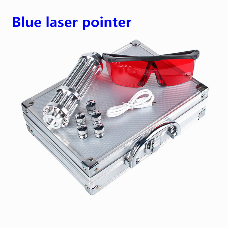Blue Laser 450nm Pointer USB Mobile Charger Lazer Pen Adjustable Focus Burning Match lit cigarette With 5 stars Caps 3-0025 big wind 3 gears usb batery fan w 2200mah 16850 lithium battery