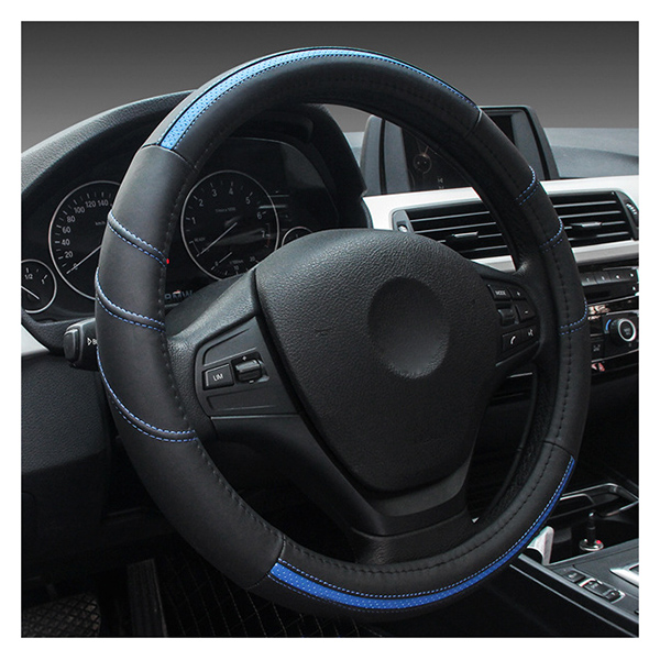 Car leather Steering Wheel Cover Universal 15 inch/38CM Breathable Anti-slip Auto Sleeve Protector,Good Grip