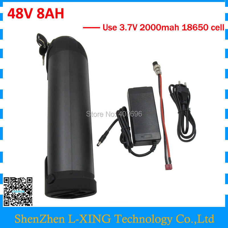 Free customs duty electric bicycle battery 48V 8AH lithium battery 48 V 8AH bottle water frame for e bike 15A BMS 2A Charger ebike battery 48v 15ah lithium ion battery pack 48v for samsung 30b cells built in 15a bms with 2a charger free shipping duty