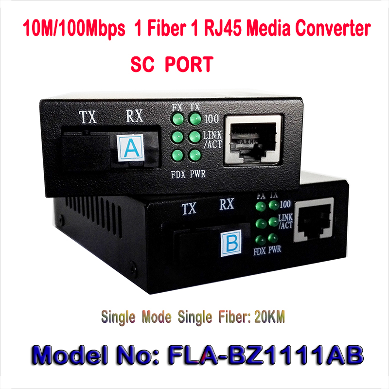 1CH Fiber SC port 1ch RJ45 Ethernet Optical Media Converter 10/100Mbps 20KM Single Mode Dual Fiber,external power supply DC5V