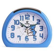 Cute Night Light Mechanical bell Cartoon Quartz Snooze Silent Movement Alarm Clock Desktop Table Clock For Kids Gift