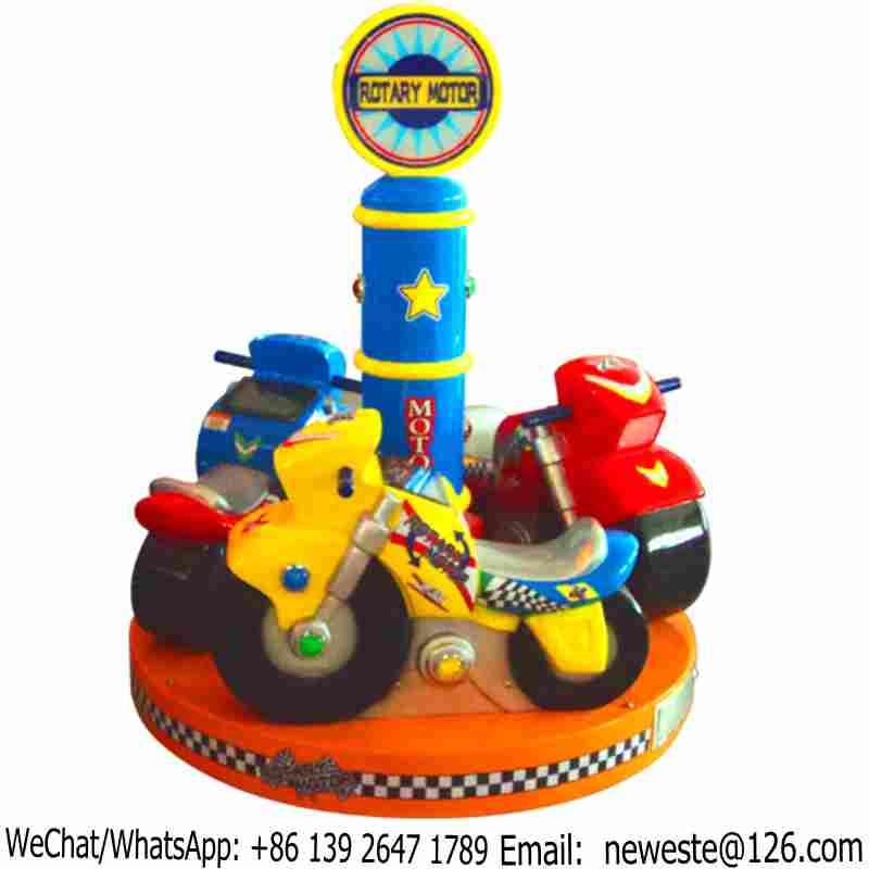 3 Seats Kids Arcade Game Machine Mini Carousels Motorcycle Moto Motorbike Kiddie Rides
