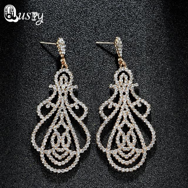 India Jewelry Full Crystal Chandelier Dangle Earrings For Women Fashion Austria Rhinestone Gold Color Wedding Earring