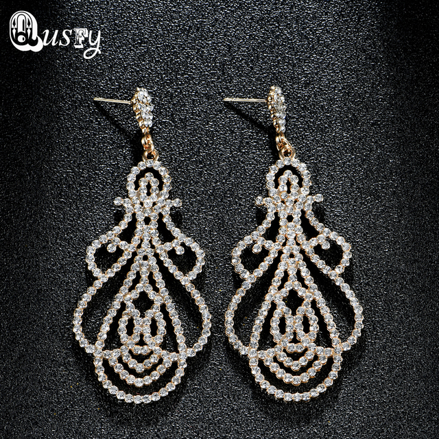 Indien Schmuck Voller Kristall Kronleuchter Baumeln Ohrringe Für Frauen  Fashion Österreich Strass Gold Farbe Hochzeit Ohrring
