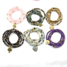 Wholesale Natural Stone Bead Bracelets Elastic Amethysts Bangle Mala Wrap Bracelet Jewelry Tree Charm Gold Color