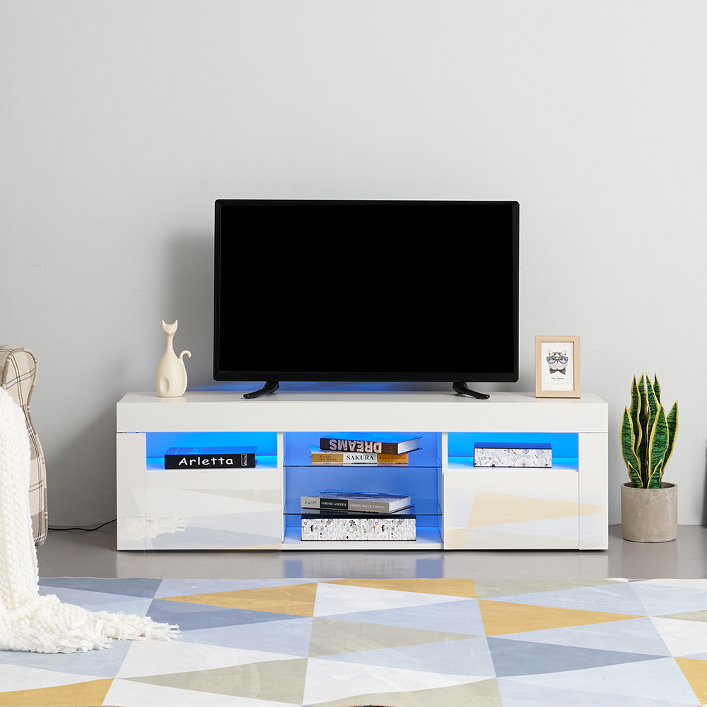 Panana 135cm Length Modern TV Unit Cabinet Stand Sideboard Cupboard FREE  RGB LED Light For Livingroom Bedroom