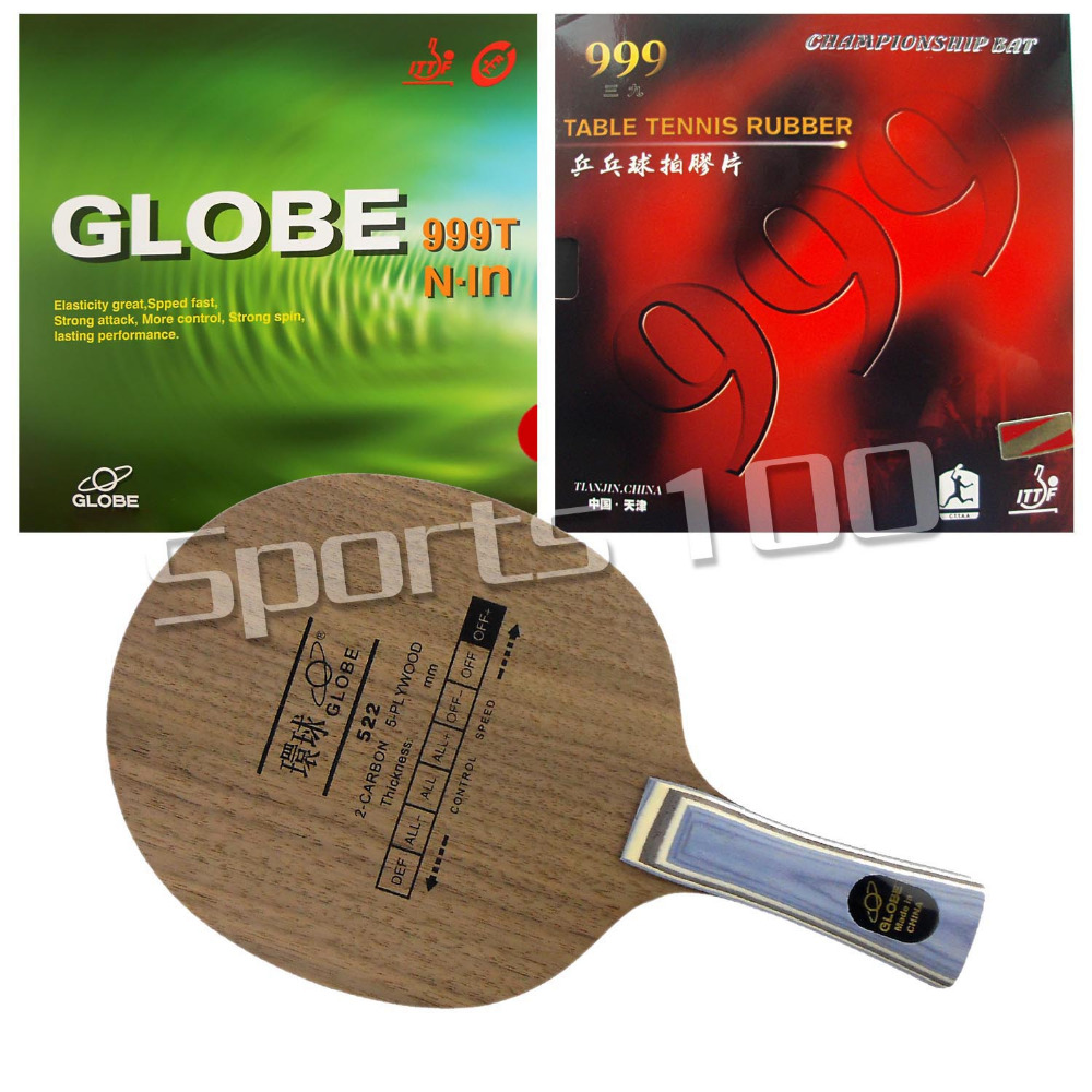Pro Table Tennis Combo Paddle Racket Globe 522 with Globe 999T Japanese Sponge and 999 999T Long Shakehand FL pro table tennis pingpong combo racket globe 522 with globe 999t japanese sponge and 999 999t shakehand long handle fl
