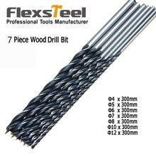 """Flexsteel 7pcs Extra Long Twist ferramentas furade Brad Point Wood Drill Bit Set 12""""/300mm Woodworking Drilling Perforator Tool"""