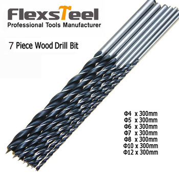 цена на Flexsteel 7pcs Extra Long Twist ferramentas furade Brad Point Wood Drill Bit Set 12/300mm Woodworking Drilling Perforator Tool