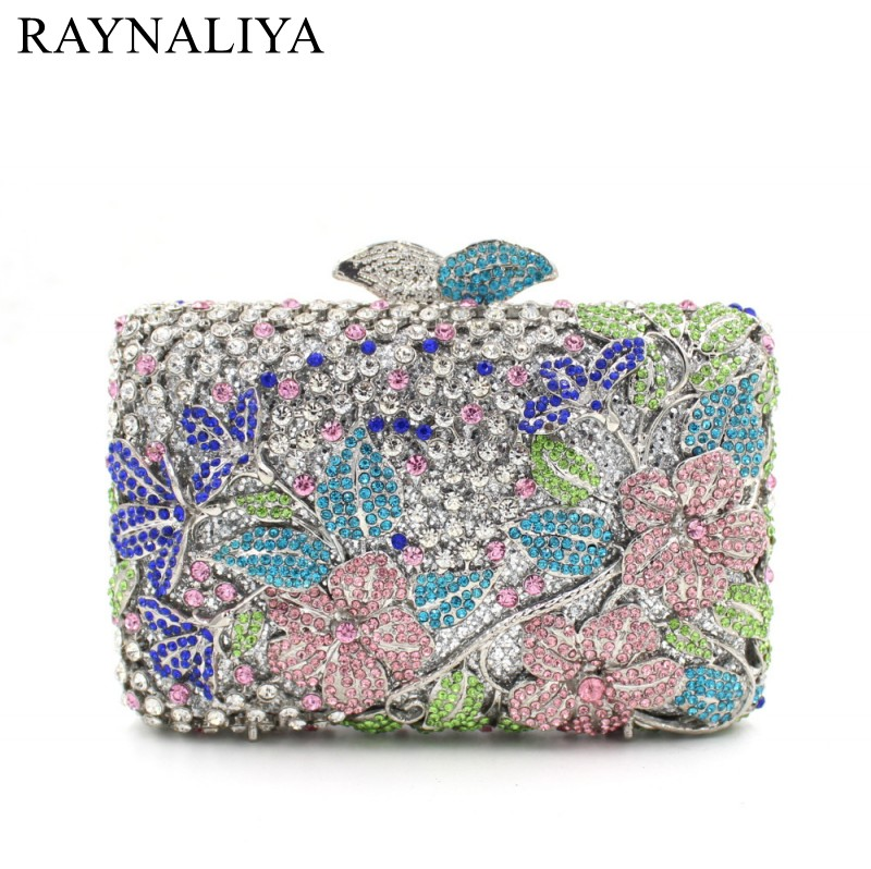 Women Crystal Clutches Fashion Party Blue Bags Ladies Evening Clutch Bag Female Flower Hollow Out Minaudiere Smyzh-f0091 free shipping a15 36 sky blue color fashion top crystal stones ring clutches bags for ladies nice party bag