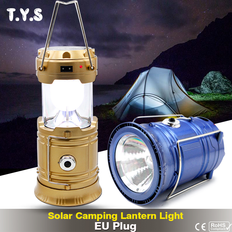 Solar Power Collapsible Portable Lamp EU Plug Outdoor Flashlights Luminaire LED USB Rechargeable Hand Lamp Camping Lantern Light