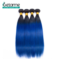 Ombre Bundles 1B/blue With Closure Brazilian Straight Hair 4 Bundles Pre Colored Ombre Human Hair Weft Weave Non Remy