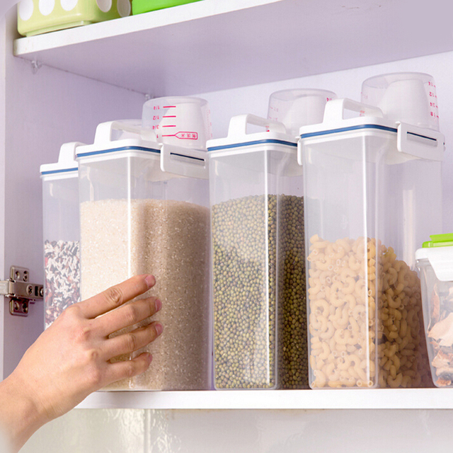2KG Portable kitchen storage box measuring cup with a lid plastic