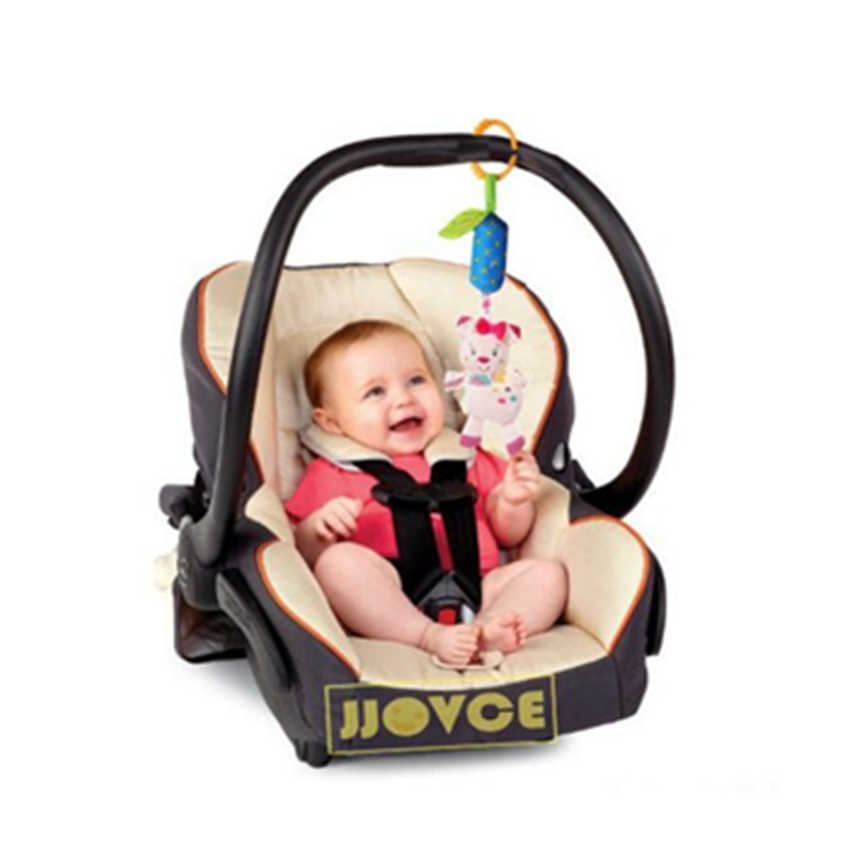 JJOVCE Infanty خشخيشات الأطفال حديثي الولادة 0-12 شهر طفل لطيف الحيوان لينة معلقة السرير مقعد السلامة أفخم دمية الهواتف النقالة دمية