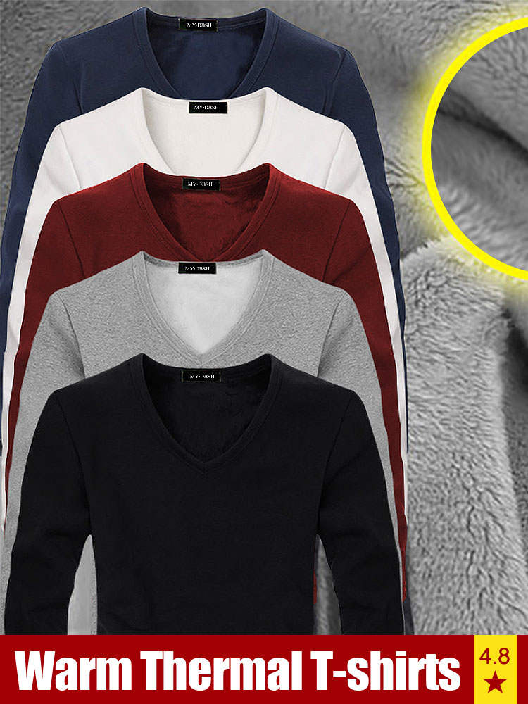 Tshirt Man Velvet Long-Sleeve Autumn V-Neck Thick Winter High-Quality Mens Casual Tees