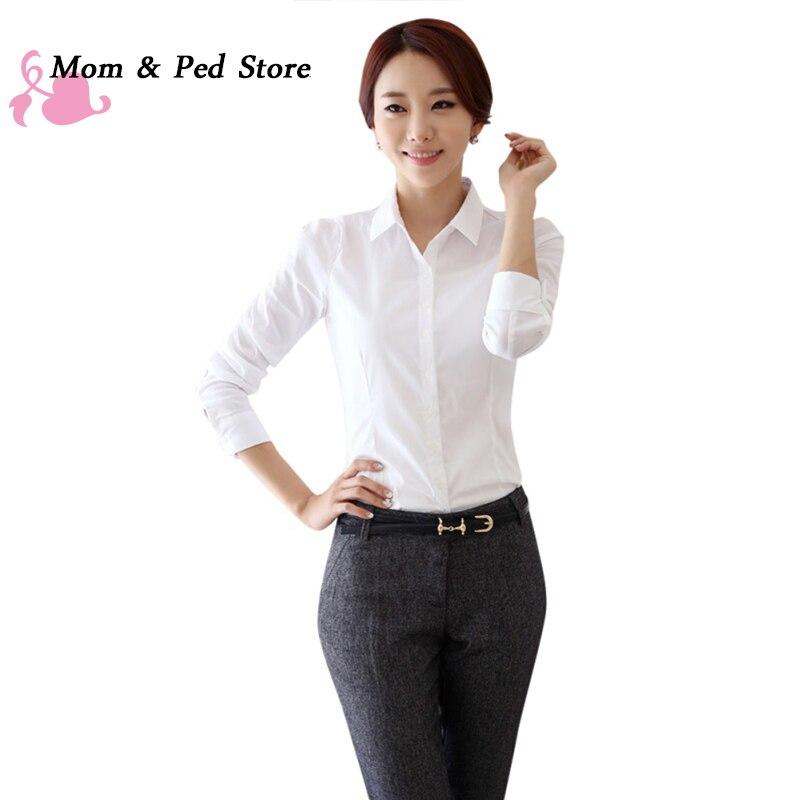 Fashion White   Blouse     Shirt   Women Work Wear Long Sleeve Blusas Tops Slim Ladies Office   Blouses     Shirts
