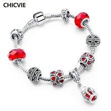 Chicvie красный полый сердце и Звезда Корона браслет на запястье