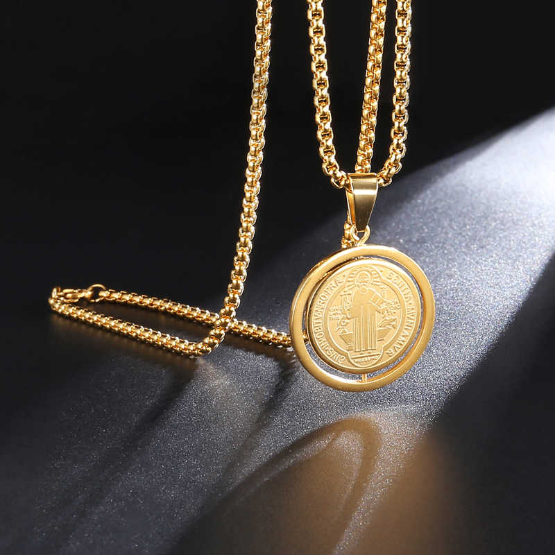 D&Z San Benito Medal Pendant Gold Color Stainless Steel Rotatable Jesus Pendants & Necklaces for Religious Jewelry Medallion