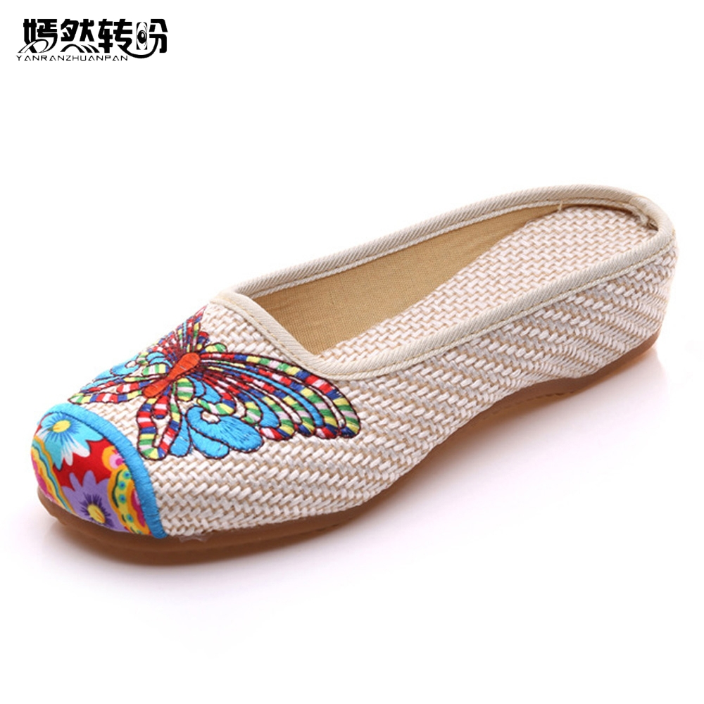 Vintage mujer Zapatillas verano mariposa moda china viejo Pekín Casual flor Zapatos Sandalias Mujer talla grande 41