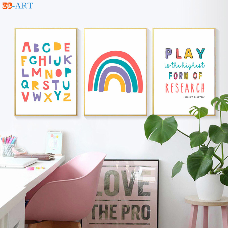 Einstein Quotes Posters Nursery Canvas Painting Decoration Pictures Alphabet Number Prints Educational Wall Art Playroom Decor